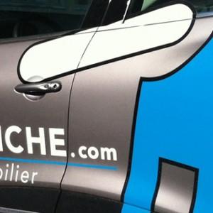"""photo  Habillage véhicule """"La Clanche Immobilier""""   conception d'un habillage pour véhicule commercial"""