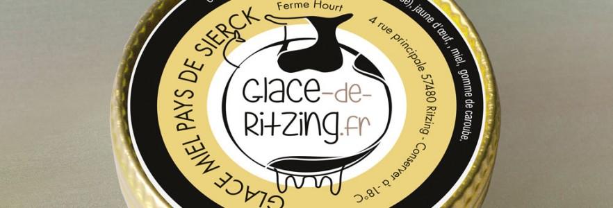 photo  Les Glaces de Ritzing   conception du nouveau logo, flyer, bâche signalétique, cartes de visite, étiquettes pour pots de glace