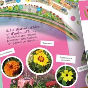 """photo  Dépliant Fleurissement Sierck   conception et mise en page d'un dépliant """"balade fleurie"""" présentant les parcours de visite de la ville"""