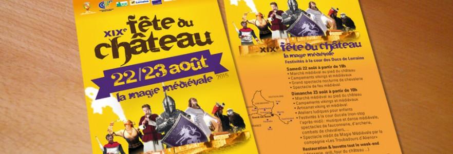 photo  Château des Ducs de Lorraine   conception d'une affiche, flyer et dépliant pour la Fête du Château de Sierck les Bains