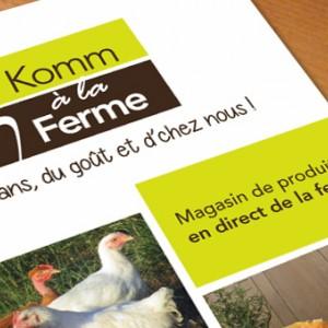 photo  Komm à la Ferme   conception d'un flyer pour Komm à la Ferme, magasin de produits en direct de la ferme