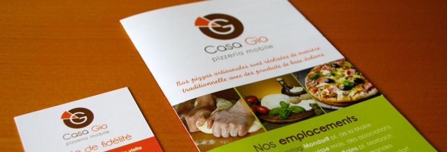 photo  Casa Gio - Pizzeria Mobile   conception de logo, carte de fidélité et dépliant pour une pizzeria itinérante dans le pays de Sierck